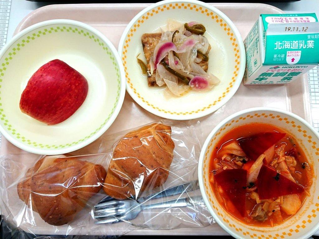 七飯町内の小学校給食で使用していただきました。